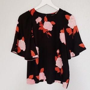Flutter sleeve floral blouse